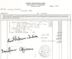 Plant invoice, 1951