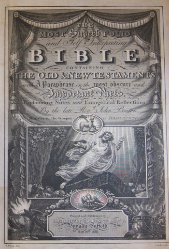 Brown, John. The most superb folio and self-interpreting Bible containing the Old and New Testaments. Bungay (England): C. Brightly & T. Kinnersley, 1813.