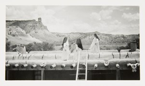 Nuns on the Roof of the Ghost Ranch House, undated Unidentified photographer Black and white photograph 3 ½ x 5 7/8 in. 2014.03.289