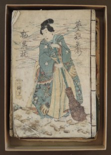 Five Japanese books c. 1800s in a box labeled by Georgia O'Keeffe