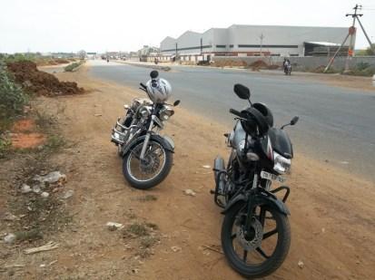 Bullet (Sriram anna's) & bike (mine)
