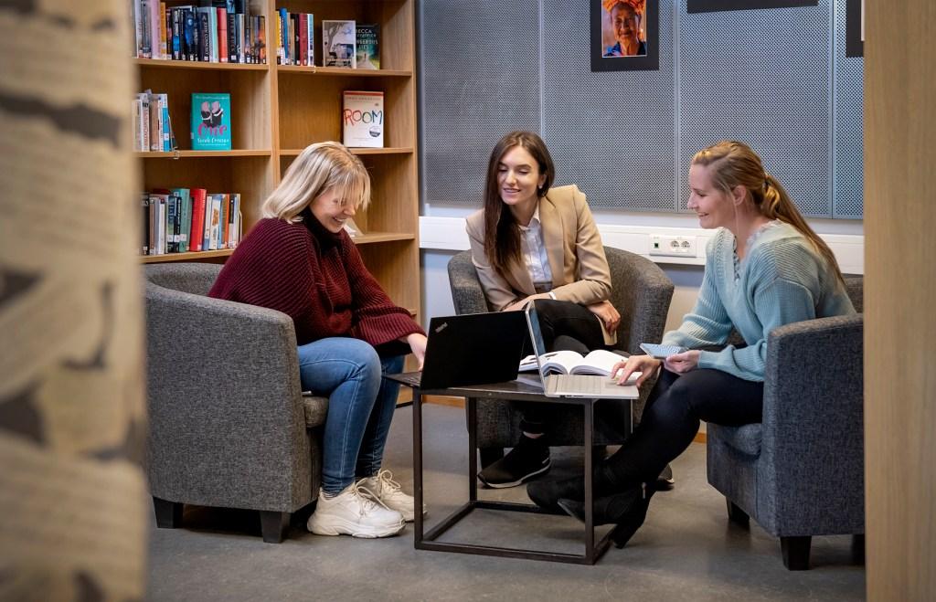 Studenter i biblioteket
