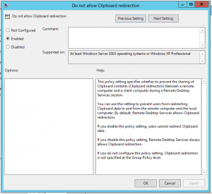 Group Policy Disable Remote Desktop Copy Paste Policy