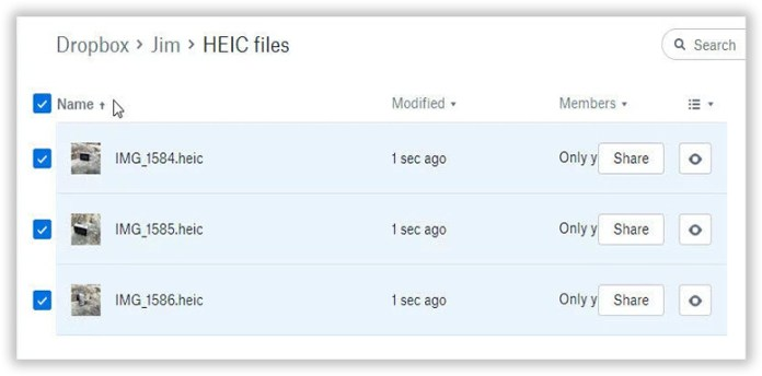 Convert HEIC to JPG with Dropbox