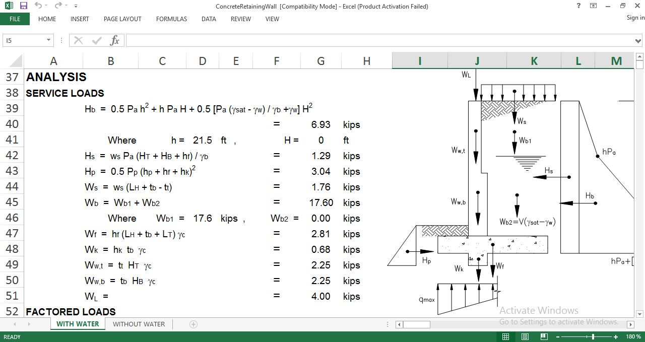 Abutment And Retaining Wall Design Spreadsheet Download Free Sheet