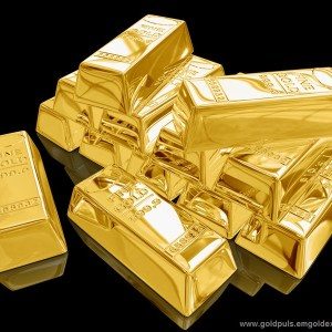Gold Bullion Bars Over Black