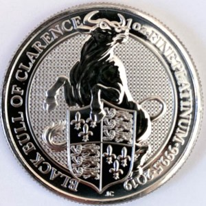 1 Oz Platinmünze Queens Beasts Black Bull vorne Münze