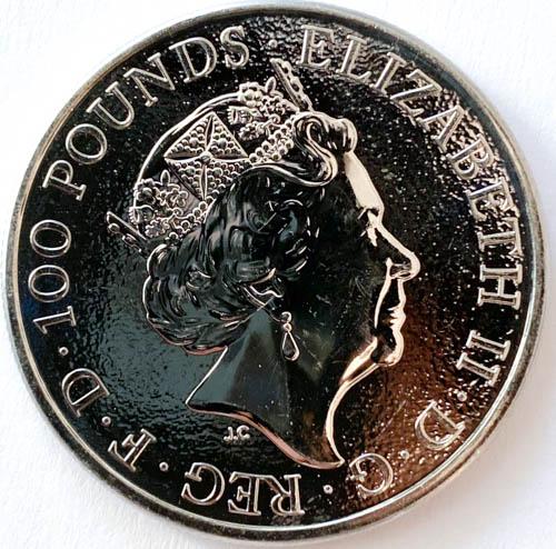 1 Oz Platinmünze Queens Beasts Lion of England Münze Hinten