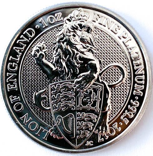 1 Oz Platinmünze Queens Beasts Lion of England Münze Vorne
