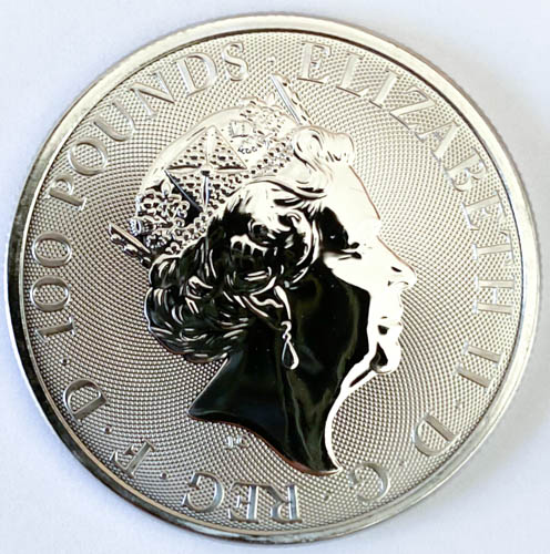 1 Oz Platinmünze Queens Beasts Unicorn of Scotland Münze Hinten