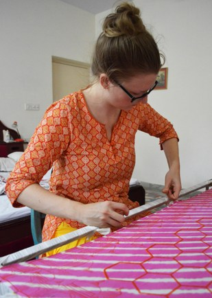 Stretching the silk on the embroidery frame