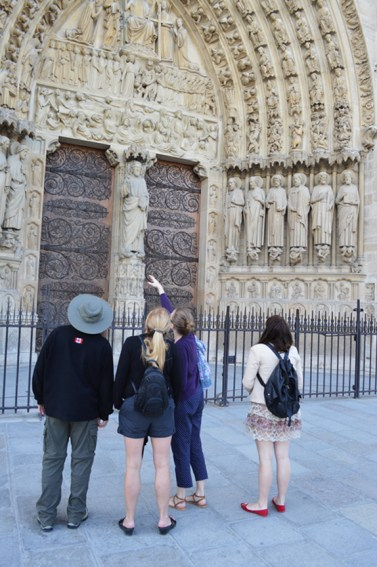Leanne showing her family Notre Dame