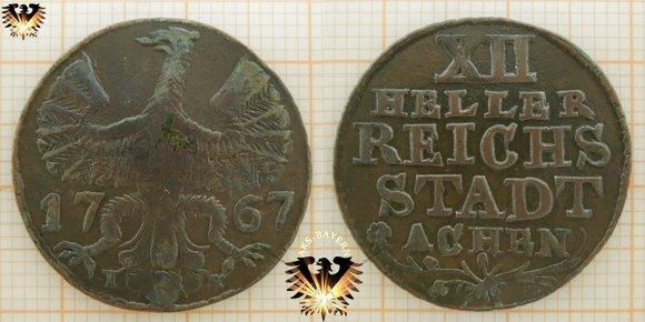 Aachen XII Heller 1767 - Reichs Stadt Achen, Kupfer Münze © goldankaufstelle-bayern.de