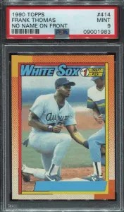 Topps No Name On Front Frank Thomas