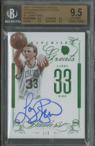 LARRY BIRD FLAWLESS FRANCHISE GREATS EMERALD AUTOGRAPH