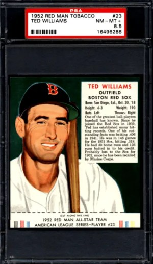 TED WILLIAMS 1952 RED MAN TOBACCO