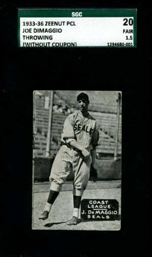 Joe DiMaggio Zeenut baseball card