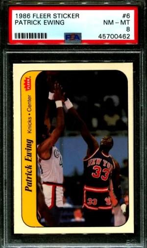 1986 Patrick Ewing basketball card Fleer Sticker