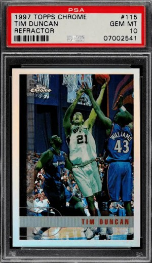 Tim Duncan rookie card topps chrome