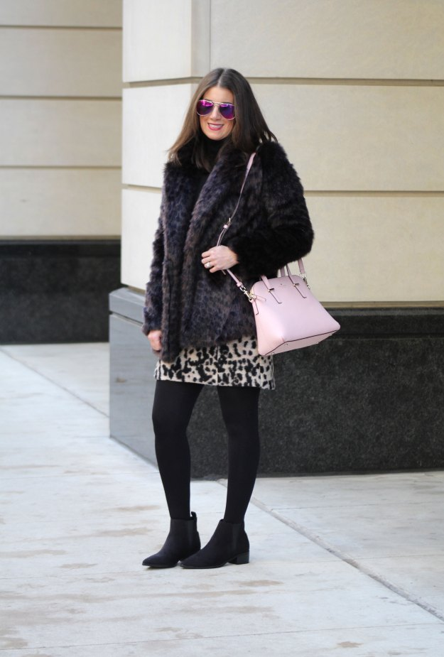 leopard skirt and faux fur 4