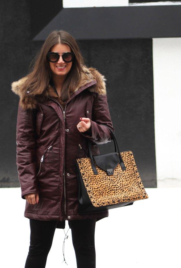 burgundy coat and leopard 6
