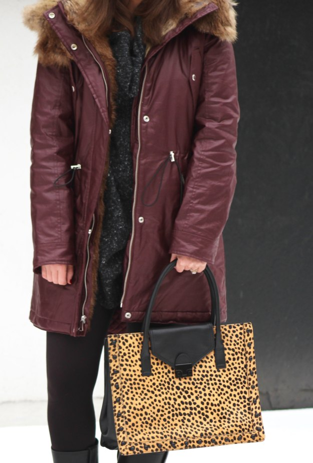burgundy coat and leopard 8