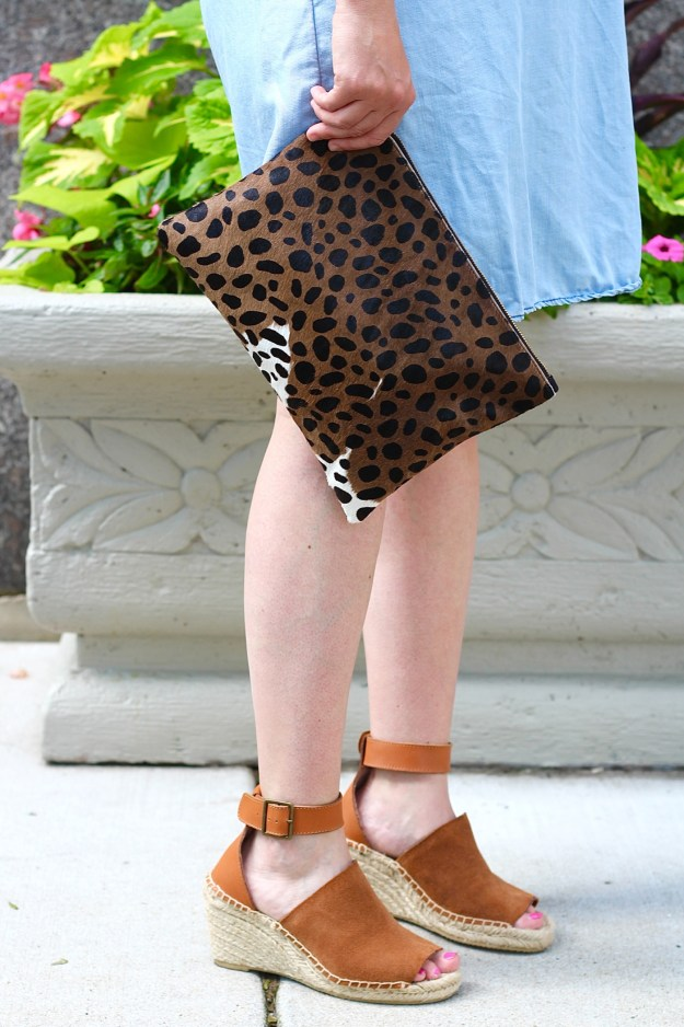 leopard clutch and marc fisher wedges