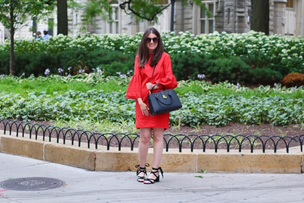 Red Dress and Black Sandals