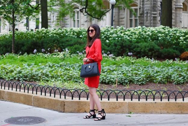 Lauren Ralph Lauren Red Dress and Black Handbag