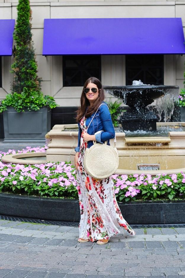 Venus Floral Maxi Dress Clare V Straw Tote
