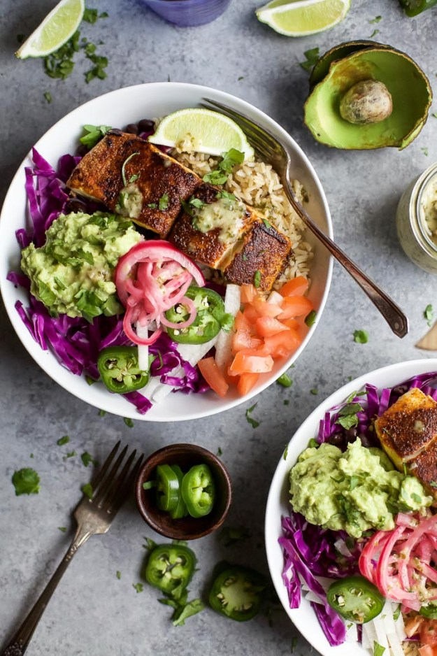 fish taco rice bowl