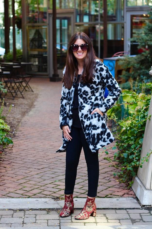 animal print jacket and brocade booties