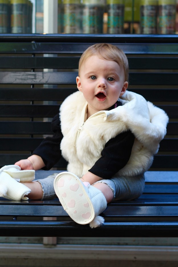 baby faux fur vest and booties