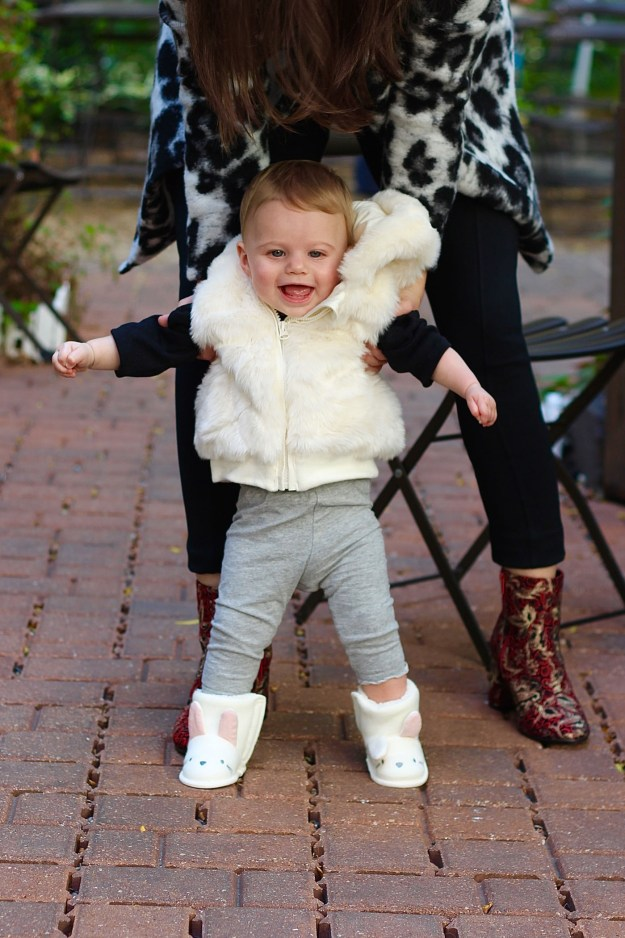 marks and spencer faux fur vest and booties