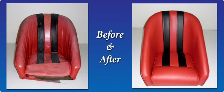Red and black boat seats with new upholstery
