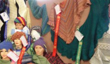 Beanies and shawls made of handspun