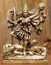 The active Mother (Shakti) stands on the inactive Father (Shiva)