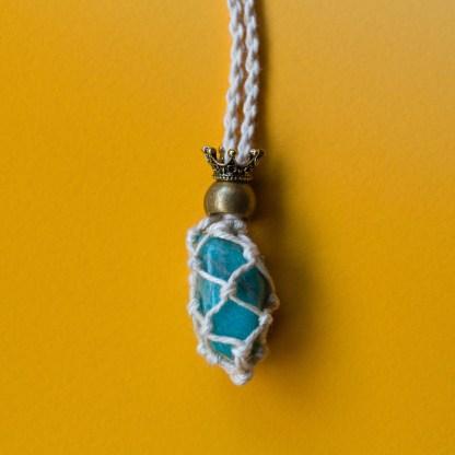 Amazonite Macrame Necklace | Golden Blue