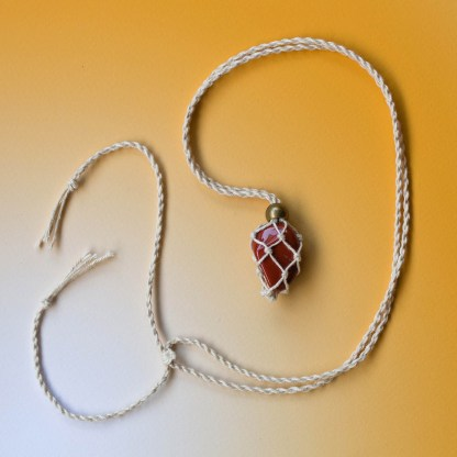 Red Jasper Macrame Necklace | Golden Blue