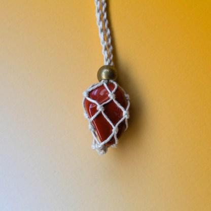 Red Jasper Macrame Necklace   Golden Blue