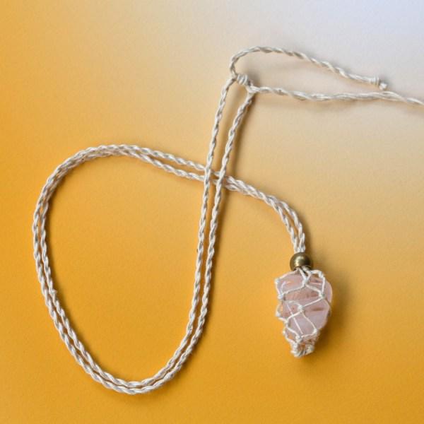Rose Quartz Macrame Necklace   Golden Blue