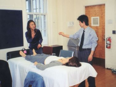 teaching a acupuncture class. at NCNM_G
