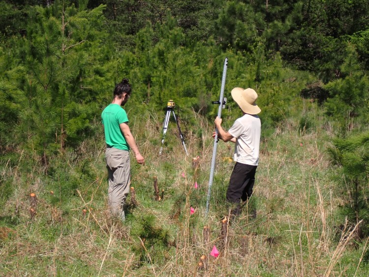 using a laser to measure contour for digging a swale