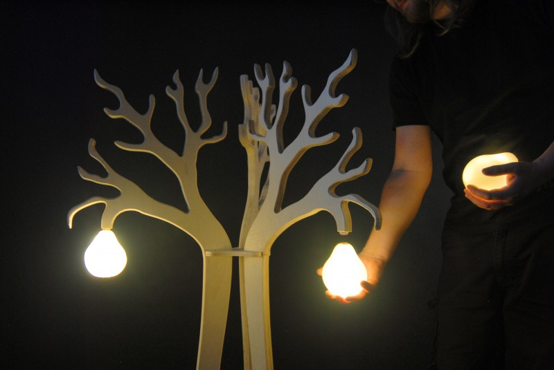 One of Trevor Myers' designs is a tree with chargeable fruit lights that can become portable night lights. Trevor Myers / Special to Xpress