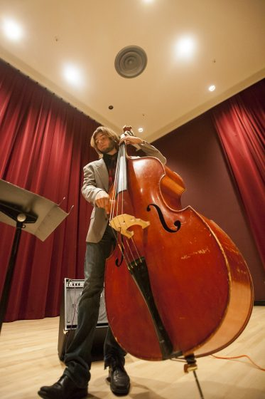 Alex Farrell, a freshman majoring in jazz studies, performs with his trio in Knuth Hall Wednesday, Oct. 15, 2014. Martin Bustamante / Xpress.