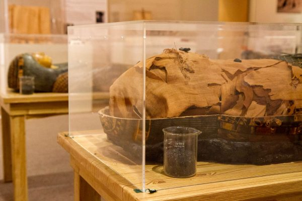 Nes-Per-N-Nub rests beside the lid to his inner sarcophagus while the two outer sarcophagi stand on display in the background Tuesday, Oct. 21, 2014. Eric Gorman/Xpress.