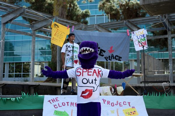 The Gator mascot front performs at the end of the Clothesline Project at SF State Monday, Oct. 27. Henry Perez/Xpress.