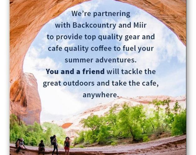 La Colombe Coffee Roasters, Backcountry and Miir Sweepstakes