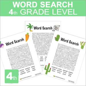 Word Search Worksheets 4th grade Level