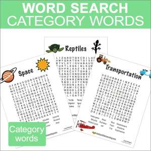 Word Search Category words